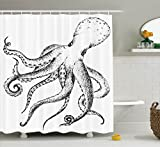 Ambesonne Octopus Decor Collection, Hand Drawn Style Image of Octopus Marine Wildlife Nature Print Nautical Decorative Art, Polyester Fabric Bathroom Shower Curtain, 84 Inches Extra Long, Black White