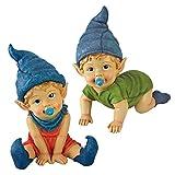 Garden Gnome Statue – Archibald & Blaze the Baby Gnomes Set – Lawn Gnome