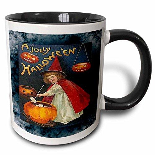 3dRose 6203_4 Vintage Halloween Girl and Jack o Lantern Ceramic Mug, 11 oz, Black/White -