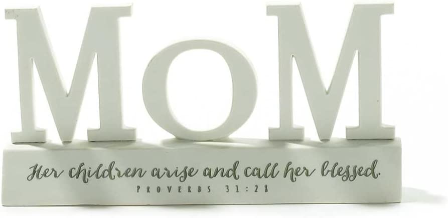 Dicksons Mom Call Her Blessed Proverbs 31:28 White Resin Stone 3.5 inch Word Table Sign Plaque