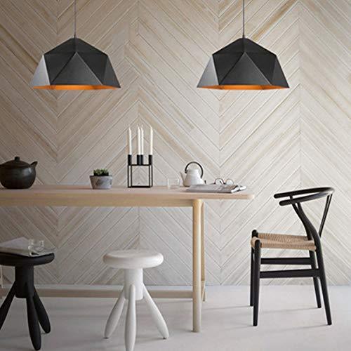 NANGE Wrought Iron Diamond Pendant Lamp, Industrial Wind Ancient Ways Geometry Pot Droplight,Cafe Restaurant Chandelier,E27(Without Light Source) (Color : Black, Size : AC 110V) by NANGE (Image #7)
