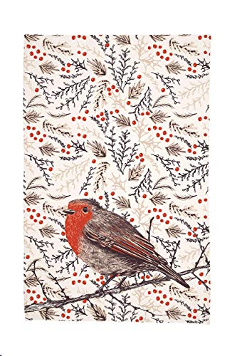 Christmas Dish Towel with Robin and Holly Berries - Designs Berry Holly