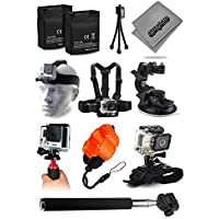 Opteka 2x Batteries + Selfie Stick + Head Strap + Chest Strap + Car Dash Mount + Wrist Strap + Opteka HG1 + Floating Strap + Cleaning Kit