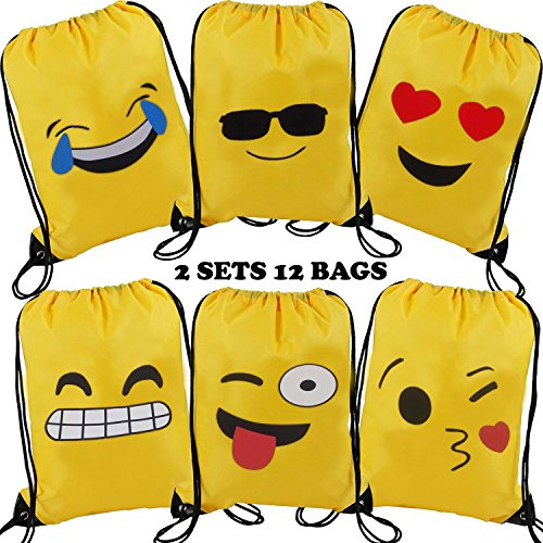 Cute Emoji Drawstring Backpack Bags Bulk for Girls and Boys, Kiddie Treats Such as Toys Gift Sack, Assorted Emoticon Party Supplies Favor, Carry Cinch Bag, Promotional Durable Daypack, Set of - Disney For Sunglasses Adults