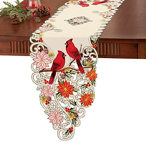 Embroidered Holiday Cardinal Poinsettia Tablecloth Linens, Runner
