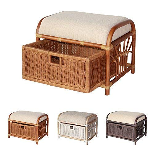 Krit Handmade Rattan Wicker Ottoman Footstool Pouf Stool w/Basket w/Cushion Color Colonial (Light Brown) ()