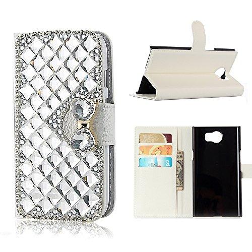 Blackberry Priv Case, Best Alice New DIY Design Case 3D Handmade Bling Crystal Diamond Wallet Case for Blackberry Priv, Flip PU Leather Case Protective Cover [ Silver Crystal ]