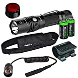 Fenix PD35 2015 TAC Edition 1000 Lumen CREE LED Tactical Flashlight, ALG-01 weapon rail mount, AR102 pressure switch, AOF-S Red color filter and Two EdisonBright CR123A Lithium Batteries bundle