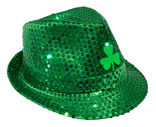 St. Patricks Day Sequins LED Light Up Fedora Party Hat, Green, One Size, 11