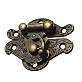 TOOGOO(R) Antique Retro Vintage Decorative Latch Wooden Jewelry Box Hasp Pad Chest Lock Size:Small