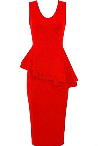 Forever Women Sleeveless Plain Side Bow Slant Peplum Bodycon Midi Party Dress