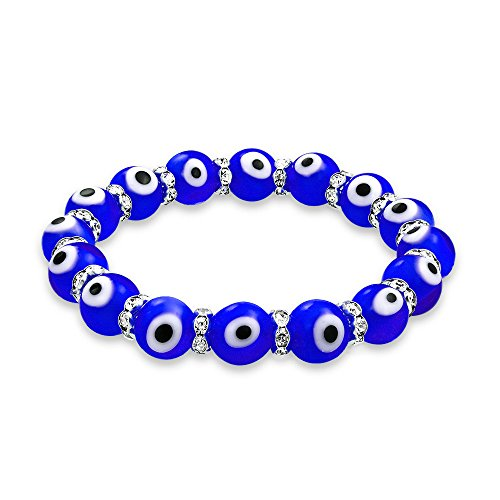 Bling Jewelry Evil Eye 10mm Blue Stretch Crystal Bracelet Silver - Stretch Blue Beaded Bracelet