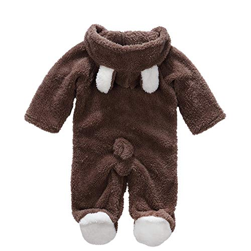 (Decdeal Newborn Baby Girls Boys Long Sleeve Hooded Climbing Romper Suits, Lovely Coverall Animal Style Thick Warm Padded Clothes for Autumn Winter )