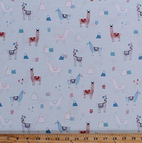 Cotton Llamas Alpacas Wearing Hats Pom Poms Mountains Herd Animals Rain Drops Wildlife Peruvian No Drama Llama Mist Green Pastels Cotton Fabric Print by the Yard (stella-758-mist)