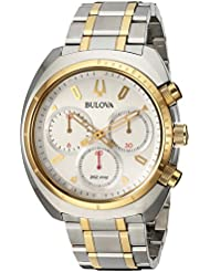Bulova Mens Curv Collection Quartz Stainless Steel Casual Watch, Color:Two Tone (Model: 98A157)