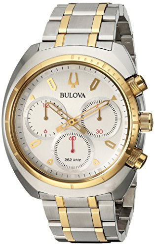 Men's Curv Collection Analog-Quartz Watch with Stainless-Steel Strap, Two Tone, 22 (Model: ) - Bulova 98A157