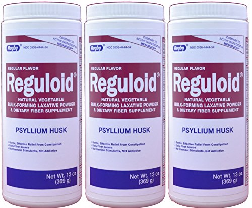 Reguloid Psyllium Husk Natural Vegetable Bulk Forming Laxative Fiber Supplement Powder Generic for Metamucil 13 oz. per Bottle Pack of 3