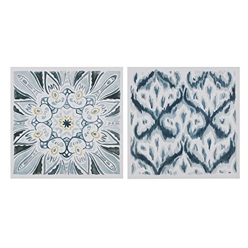 Décor 5 - Printed Canvas Set - 2 Pieces, 18'' x 18'' - Ikat Watercolor Geometric Pattern - Dark Blue, (Blue Framed Wall)