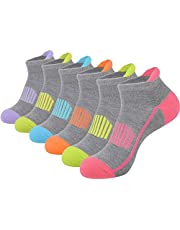 JOYNÉE 6 Pairs Women's Ankle Athletic Running Socks Performance Cushioned Low Cut Sports Socks with Heel Tab