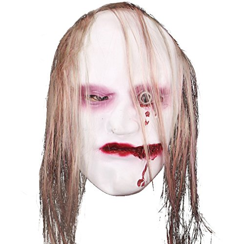 La Vogue Women's Latex Scary Halloween Zombie Overhead Mask with Hair Gash Mouth (Halloween Face Gashes)