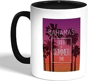 كوب سيراميك للقهوة بتصميم تمتع بالصيف ، اسود