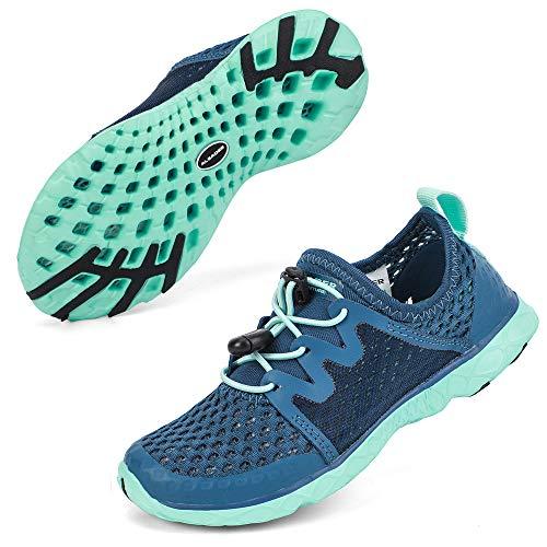 Sport Running Shoes Girls Kids Summer Walking Sneakers for Water Sport, Kayaking Navy/Aqua Sky 4 M US Big Kid