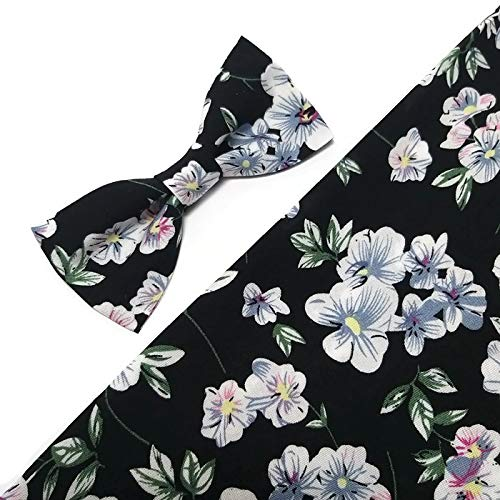 BLACK floral bow tie white blue pink blossoms pattern Groomsmen bow ties Groom skinny floral neck tie Ringbearer outfits Toddler bowtie Boyfriend birthday gift idea ()
