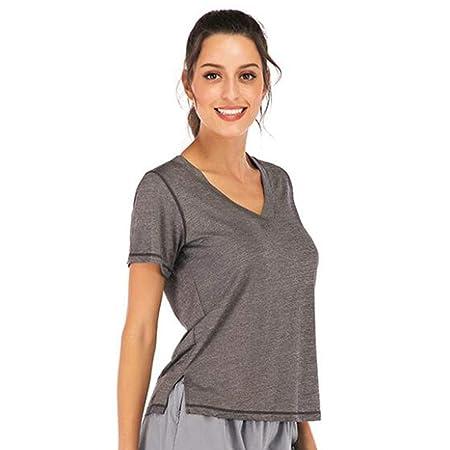 HZH Ropa de Yoga para Mujer, Camiseta de Manga Corta ...
