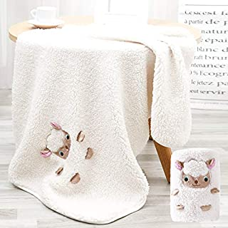 Sherpa Baby Blanket Sheep, Soft Double Sided Plush Baby Blankets with Embroidery for Boys and Girls, Size 36X24In, Premium Nursery Receiving Blanket for Baby Shower, Ivory Pet Llama