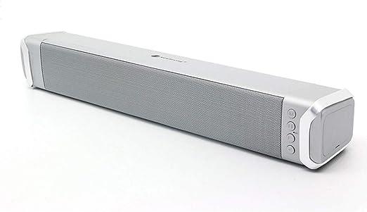 Jwdlh Barra de Sonido Mini Altavoz de Cine en casa Bluetooth 4.2 Sonido de TV 360 ° Surround Audio sin pérdida con diseño Resistente al Agua para PC, teléfono móvil, Tableta, etc,Gris: