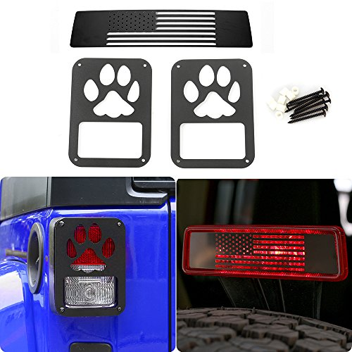 JeCar Matte Black Rear Lamp Tail lamp Tail light Cover with Third Brake Light Cover for Jeep Wrangler 2007-2017 (Claw prints)