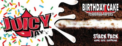 Juicy Jays Birthday Cake Flavored Rolling Papers King Size Supreme and Beamer Smoke sticker