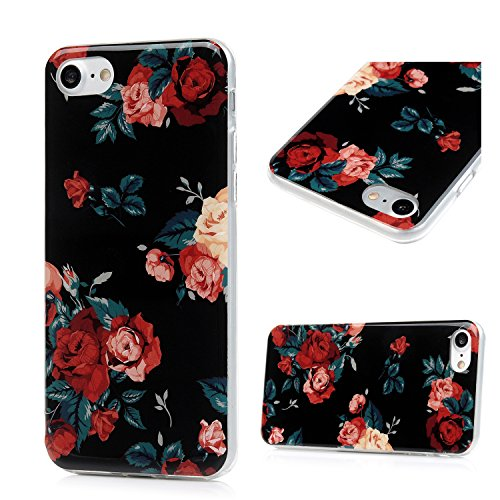 iPhone 7 Case, iPhone 8 Case, Natural Style Colored Drawing Design IMD Elegant Pattern Ultra-thin Soft Flexible TPU Full Body Protective Case Flower Cover for iPhone 7, iPhone 8 - Red Rose