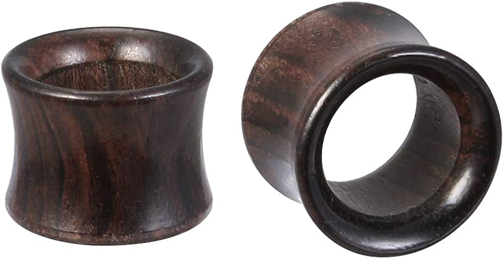 ZS Black Wood Tunnel Gauges Stretcher Expander Brown Ear Gauges Plugged Ears Wood Plugs Ear Stretching Kit Ear Plugs Tunnel Sandalwood