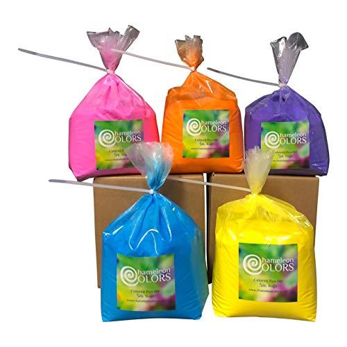 Holi Color Powder by Chameleon Colors – 5 lb of 5 Colors (25 lbs). Pure, Authentic Fun – Color Run, 5k, Festival. Blue, Pink, Orange, Yellow, Purple.
