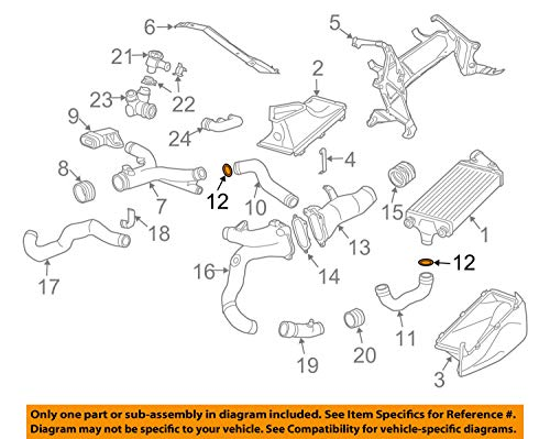 (Porsche OEM 911 Turbo Turbocharger Intercooler-Pressure Hose O-Ring 99610680106)