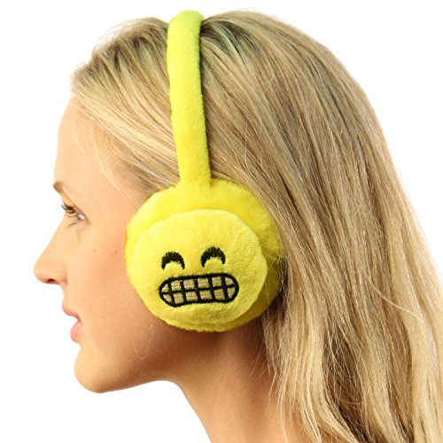 Winter Emoji Emotion Icon Fur Headband Earmuffs Ear warmers Adjustable Angry Teeth