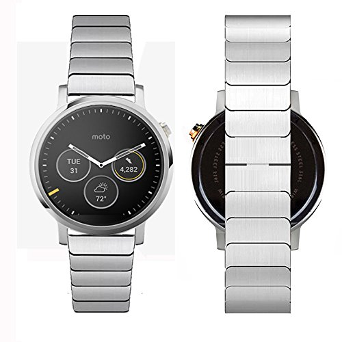 Gen Metal (Wondere MOTO 360 2nd Gen Watch Band 46mm Width Link Bracelet Stainless Steel Adjustable Band Strap Classic Smartwatches Watchband ,Silver (Silver))
