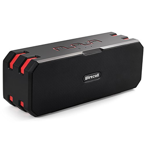 Bluetooth Speaker, Wirezoll IP67 Waterproof 20W Stereo Portable Wireless Speaker with Universal Bike Holder / Enhanced Bass / 15 Hours Playtime / TF Card Support / Built-in Microphone / Black & Red