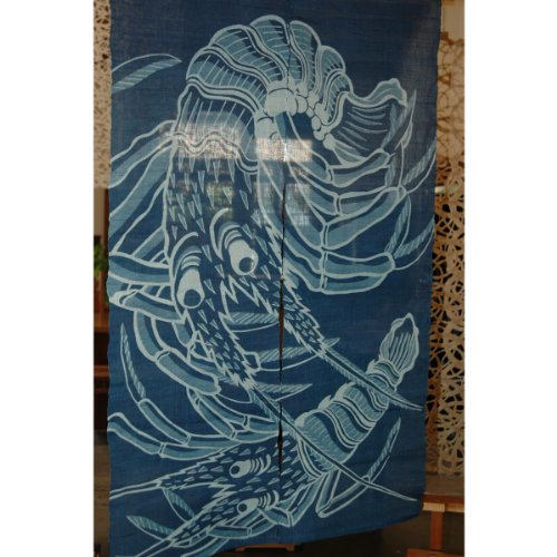 Cheap Japanese Noren, (WE1130), lobster, linen door way curtain