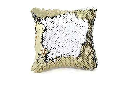 The Original Magic Sequin Fidget Pillow - Gold & White Square - Sensory Toy for Relaxing Therapy Increase Focus for Adults and Children Helps with Stress ADHD ADD Autism by Little Monkey 9S - Therapy Square