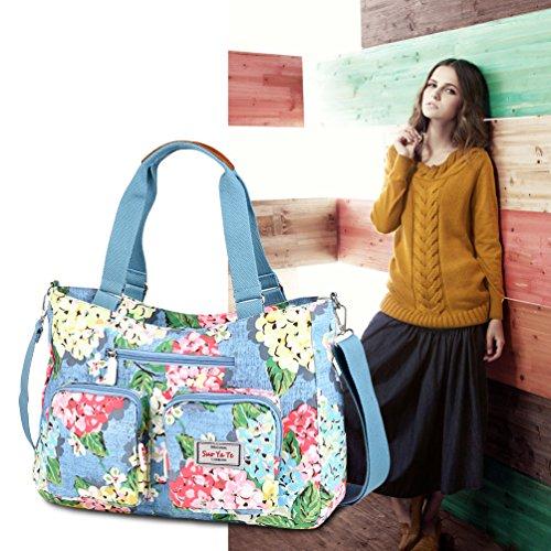 Bolsa de Color de Gran Impreso para Bolsa Mujer 3 Vbiger Hombro Nylon de Bolso de Capacidad Bolso 4 Mensajero de Viaje Color wAXUnqO
