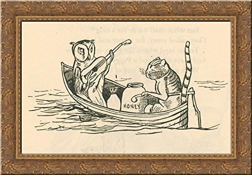 The Owl and the Pussycat 24x18 Gold Ornate Wood Framed Canvas Art by Edward Lear ()