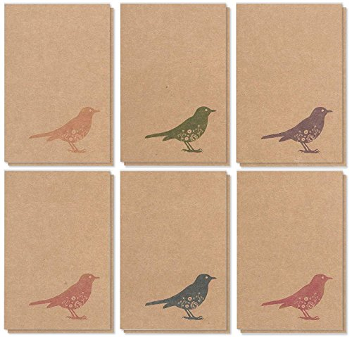 - 36 Pack All Occasions Assorted Blank Note Cards Greeting Cards Bulk Box Set - 6 Colorful Rustic Bird Designs - Blank on the Inside Notecards with Envelopes Included - 4 x 6 Inches