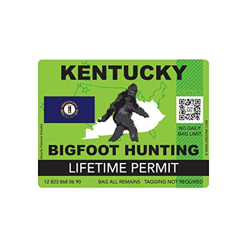 Kentucky Bigfoot Hunting Permit Sticker Die Cut Decal Sasquatch Lifetime FA Vinyl