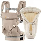 Ergobaby Bundle - 2 Items: Moonstone Four Position 360 Baby Carrier and Infant Insert Natural