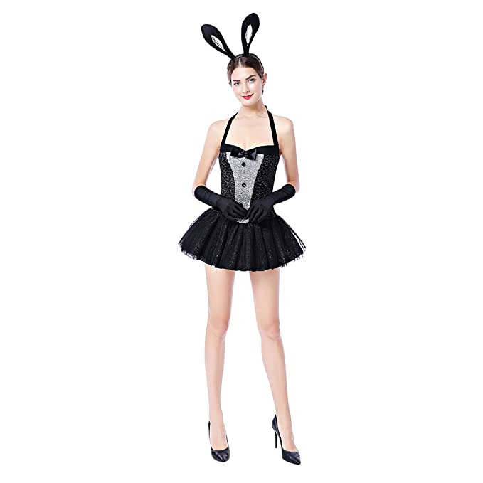 e07d05dba Women s Bunny Costume Cosplay Dress Up Sexy Rabbit Babydoll Lingerie Tutu  Skirt Halloween Party Clubwear 3PCS Outfits