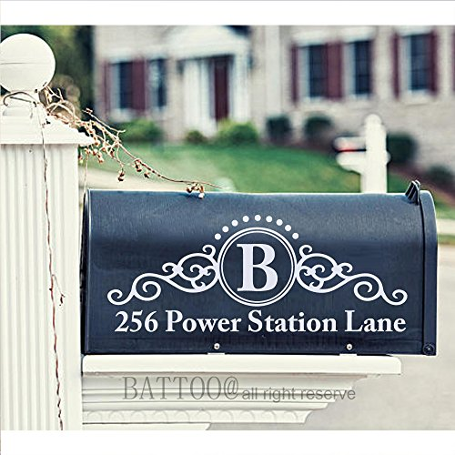 Battoo Custom Mailbox Decal Personalized Mailbox Address Decal House Numbers Vinyl Monogram Stickers 9 Wide By 3 5 Tall Plus Free Hello Door Decal
