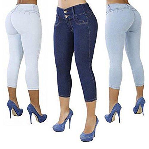 Las Pantalones Sólido L Pantalones S Color De Las M Señoras Cintura 4 De Las Pantalones De Vaqueros Tiras Baja Flacos A De 3 XL Mujeres Pantalones Mujeres Azul tawAXxq
