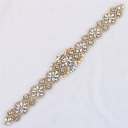 XINFANGXIU Brida Belts Applique with Crystal Rhinestone Pearl Beaded Decrations Elegant Gorgeous Pretty for Wedding Party Prom Evening Dresses - Gold -